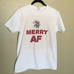 Merry AF white graphic short sleeve tee shirt